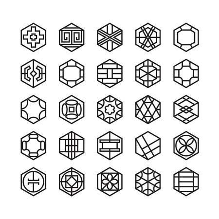hexagon geometric vector icon , ornament Vectores