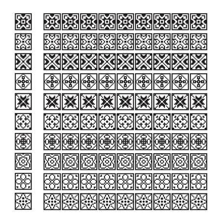 pixel ornament pattern brush, flower vector set Stock Illustratie