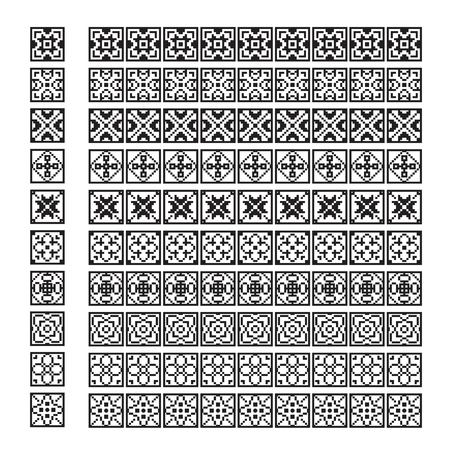 pixel ornament pattern brush, flower vector set Illustration