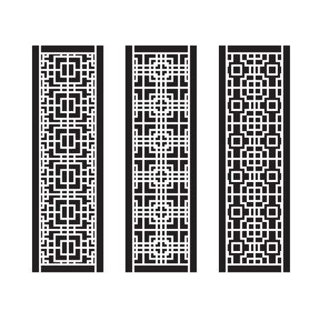 Traditional Asian Window and Door Pattern, vector set Stock fotó - 102026736