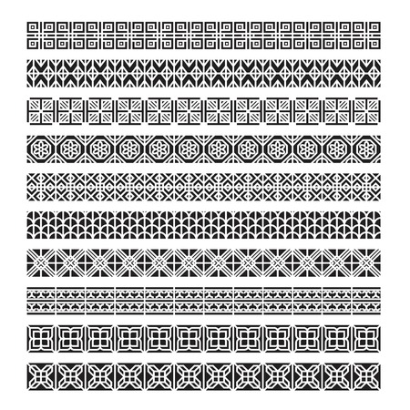 asian frame ornament, pattern brush ,korean, chinese, japanese vector set Illustration