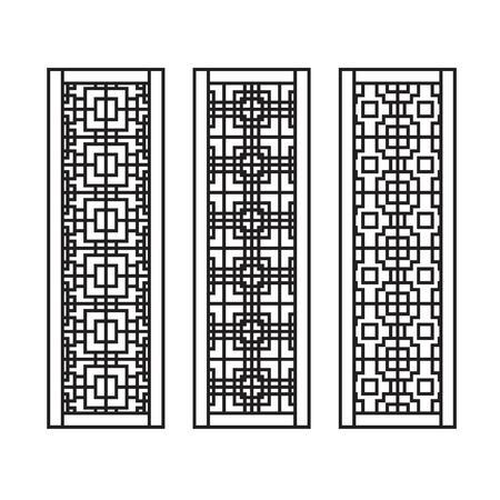 Traditional Asian Window and Door Pattern, vector set
