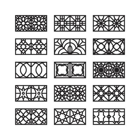 arabic ornament icon, vector set