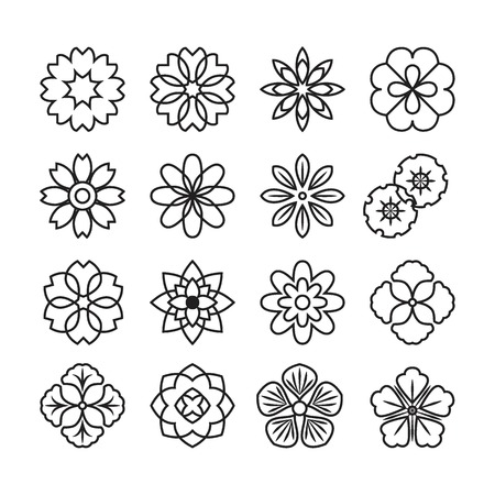 Flowers ornament icon,vector set Illustration