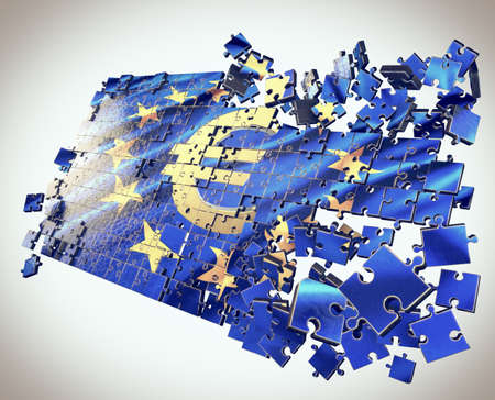 greek flag: The European Union puzzle with Euro symbol points economic crisis