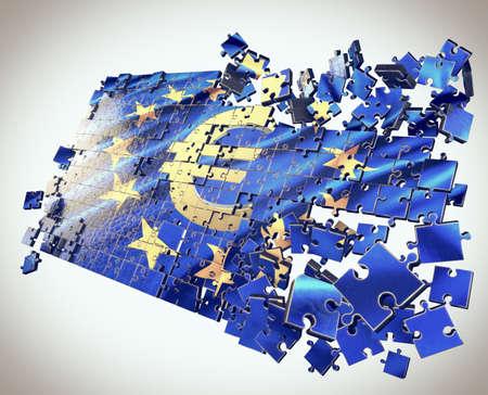 fragmentation: The European Union puzzle with Euro symbol points economic crisis
