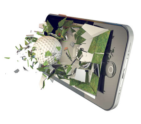 mobile phone screen: Golf ball on mobile phone