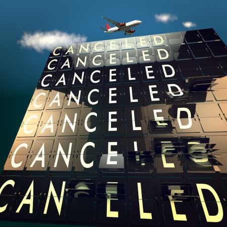 cancel: Cancelled on a mechanical timetable sky and plane Stock Photo