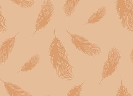 Naadloos bruin patroon van overzichtsvector van veren van pluizige vogels