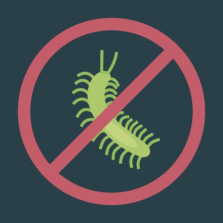 Green centipede on dark background red circle warning sign