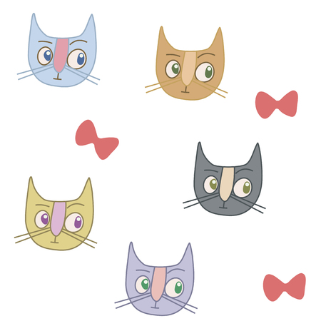 multicolored cats and red bows on a white background seamless pattern Stock Illustratie