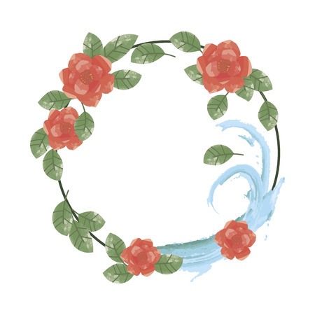 wreath of red flowers with green leaves and blue water