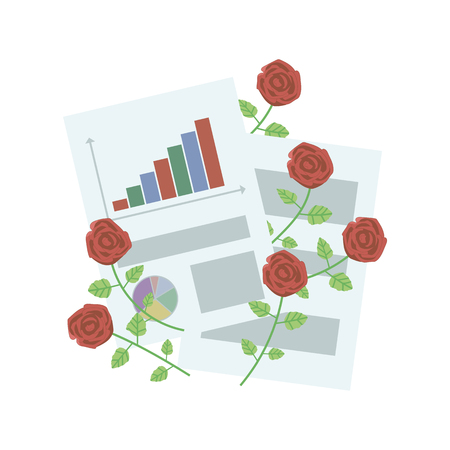 Composition of office sheets of paper with graphs and with red roses on a white background