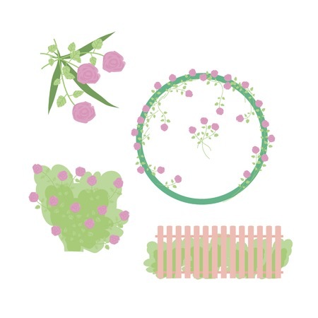 Elements and wreath with delicate pink roses green grass, leaves and a fence Illustration