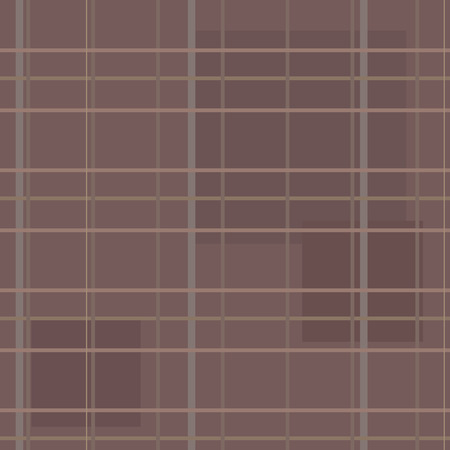 A brown seamless pattern in a box with stripes and squares of cloth. Illustration