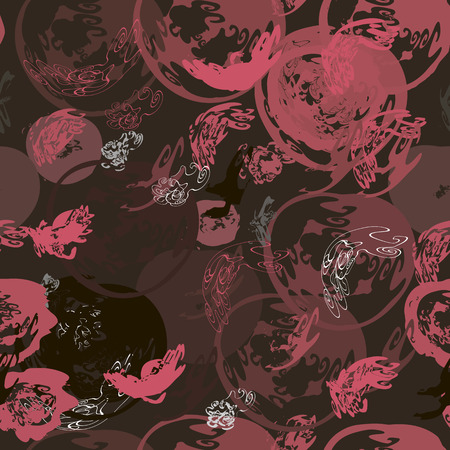 Abstract dark brown background with red spirals and curls seamless pattern.