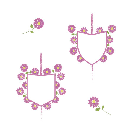 White coats of arms with pink border surrounded by pink delicate flowers on a white background. Illustration