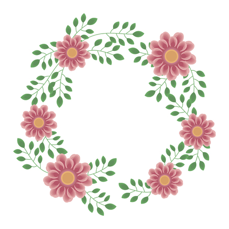Wreath of delicate beautiful pink flowers and branches with green leaves on a white background