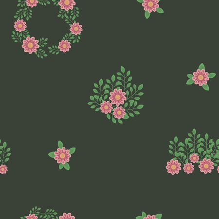 Dark deep deep green with pink flowers and green branches and leaves seamless pattern.