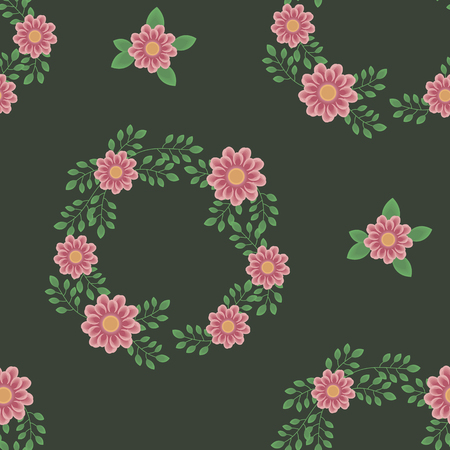 Dark deep green with pink flowers, green branches, wreaths and leaves seamless pattern. Illustration