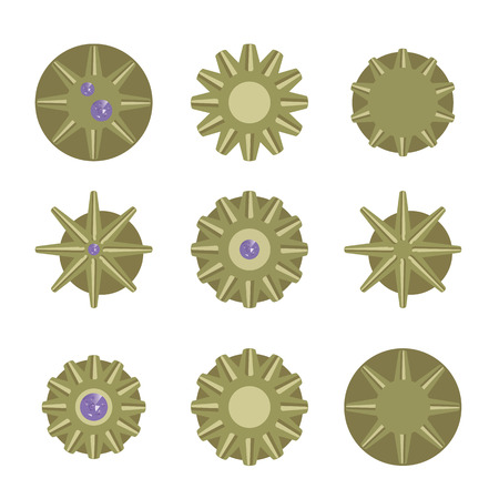 Bronze yellow round metal awards medals gear with a purple stone on a white background. Illustration