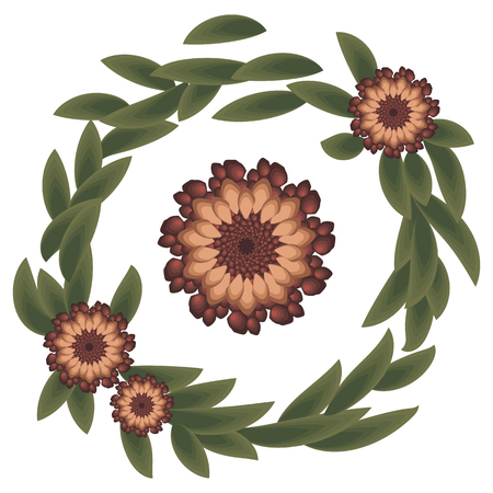 Wreath With strange red scarlet flowers and green dark leaves awful on white background.