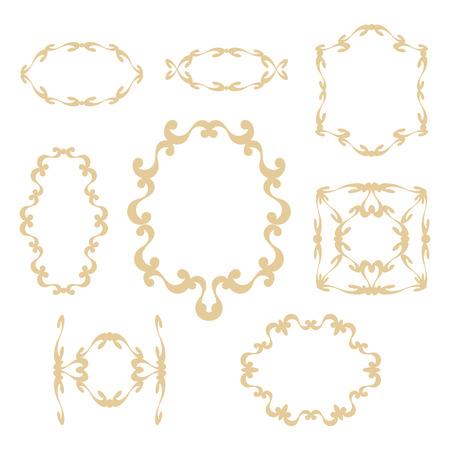 Delicate eleganti cornici color pesca carino e cordoli con riccioli su uno sfondo bianco. Archivio Fotografico - 96185690