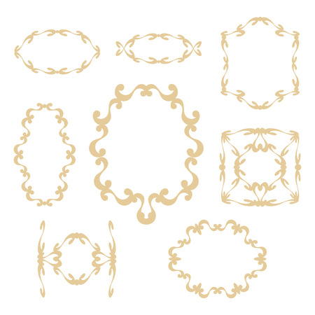Delicate elegant cute peach-colored frames and curbs with curls on a white background. Illustration