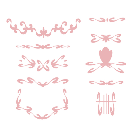 Delicate slender graceful pink frame and vignettes with curls on a white background
