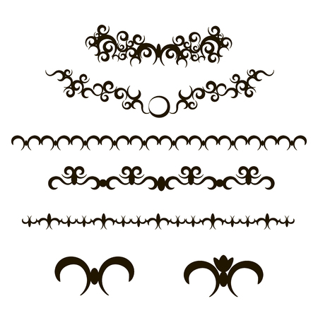 Delicate slender graceful black frame and vignettes with curls on a white background. Illustration