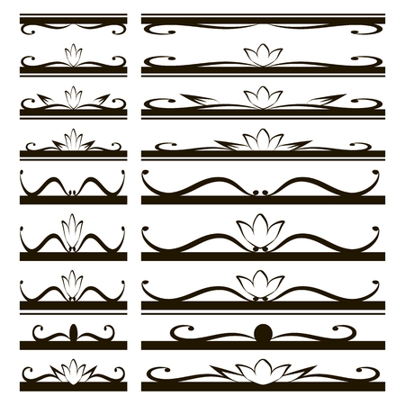 black subtle shapes and figures of lines and curls ornaments for booklets Roofs and covers with flowers on a white background