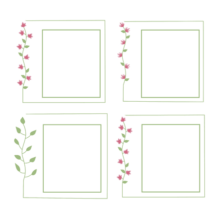 Square floral Flower frame with pink flowers and green leaves on a white background. Illusztráció