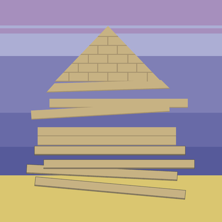 Light brown building materials, wooden boards and the Egyptian pyramid on the background of the desert and the blue sky.