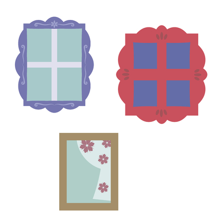 Windows with glass, wooden different colored figured frames with carvings on a white background.