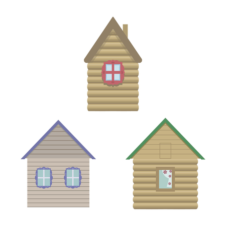 Brown light cute wooden houses with windows and multi-colored roofs on a white background.