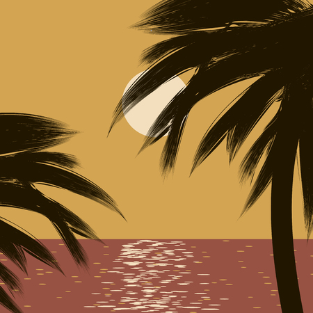 Black dark contours of leaves and trunks of palm trees on a orange background of a day tropical sea and sky.