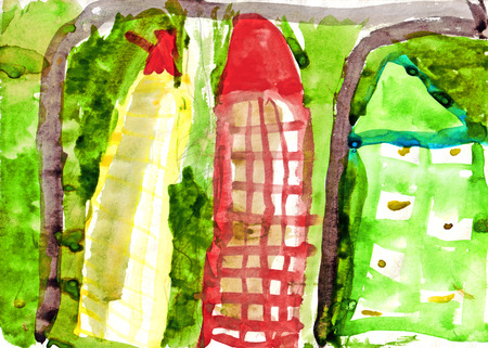 childrens drawing urban landscape. kid painted high-rise building and trees in the city