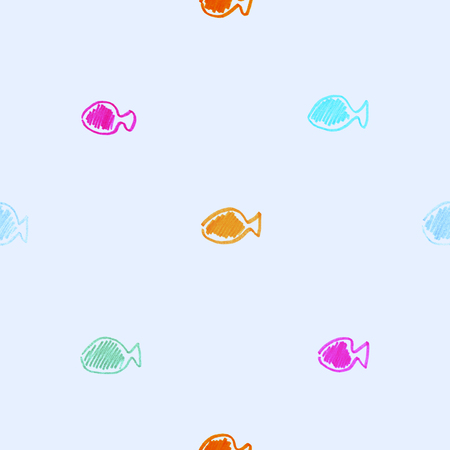 cute small multi-colored bright hand drawn markers fish on the blue background seamless pattern Stock Photo