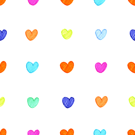 cute small multi-colored bright hand drawn markers hearts on the white background seamless pattern