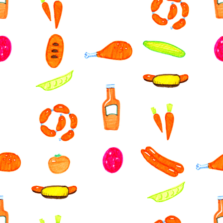 colored bright hand drawn markers chiken, cucumber, hotdog, tomato, sausage on the white background seamless pattern