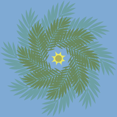 Bright positive colorful summer cheerful tropical wreath of palm leaves on a blue background with sun 일러스트