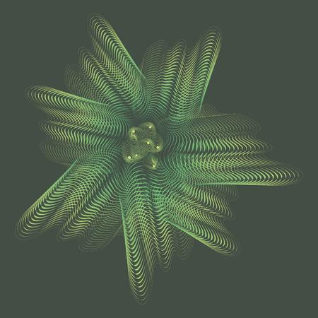 Green underwater linear translucent vector ghostly iridescent flower on a dark green marine background.