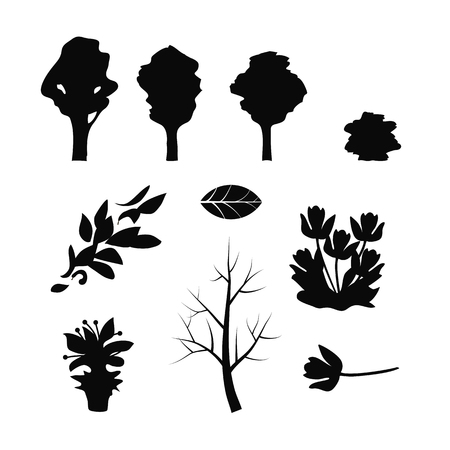 Set of black tree silhouettes branches of flying leaves of flowers, flower in pot on white isolated background.