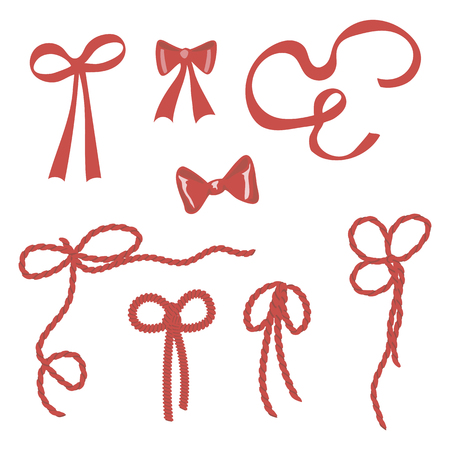 simple vector bright red bows, ribbons, rope, tie on gifts isolated on white background