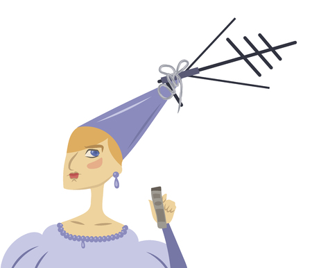 funny cartoon cute princess in a blue dress with a TV antenna on a hat isolated on a white background