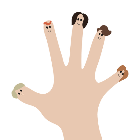a palm with faces of people at the fingertips of a family team of a company vector illustration.