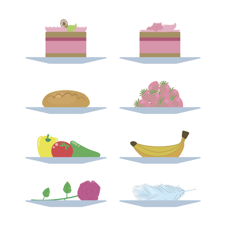 cake patty fruit vegetables flower and feather on a plate of food bright illustration isolated on white background