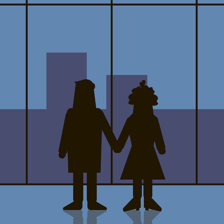two people silhouette holding  hands and looking through the window at the blue City  Vector illustration.