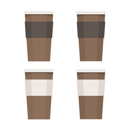 vector coffee brown paper glass with paper stripe isolated on white background illustration