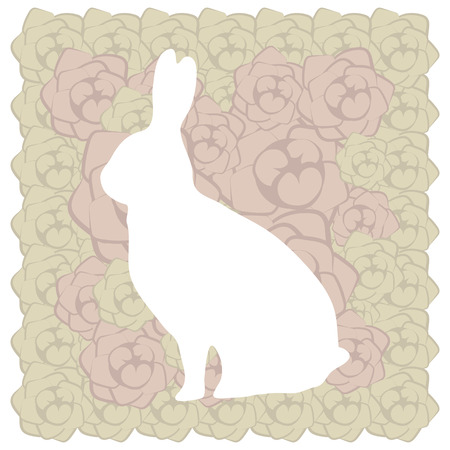 cute lace floral easter beige brown rabbit postcard wish  イラスト・ベクター素材